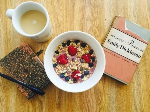I made this smoothie bowl and poured some coffee and got my journal and set up my newly purchased Emily Dickinson book for this picture. Casual.