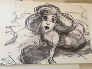 We snuck into a Disneyland resort and I found a giant wall of original Little Mermaid sketches that I fawned over.